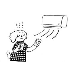 エアコンをつけるキャラクターイラスト