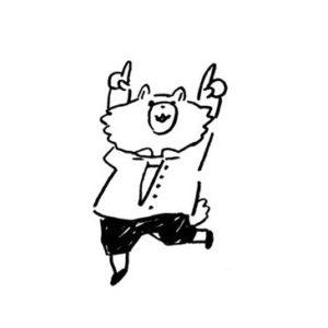 上を指差すキャラクターイラスト