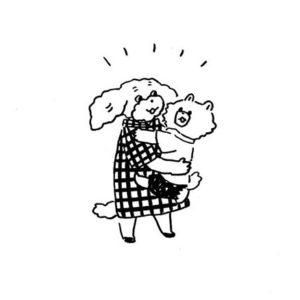 抱っこをしているキャラクターイラスト