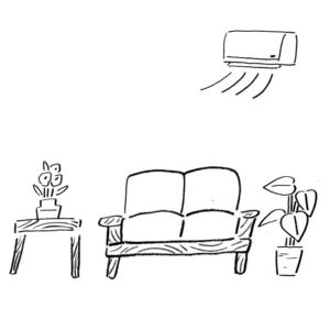 手書きイラスト「快適なリビングルーム」