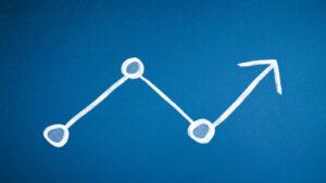 チョークで書かれた折れ線グラフ